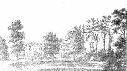 Belmont. Pałac i kaplica od strony podjazdu. Rys. N. Orda
