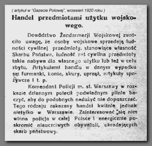 Artykuł w Gazecie Polowej, wrzesień 1920 roku