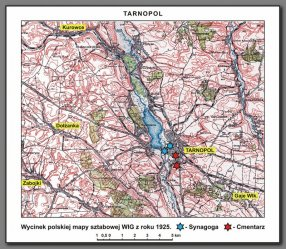 Okolice Tarnopola w r. 1925 – wyróżniono na żółtym polu nazwy miejscowości, z których dokonano ekshumacji żydowskich żołnierzy na nowy cmentarz żydowski w Tarnopolu w okresie XII 1926 – V 1927 r. (oprac. autor)