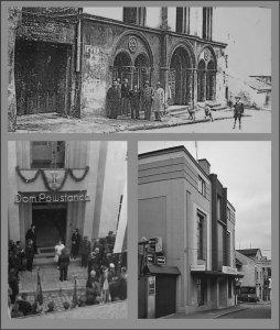 Na zdjęciu u góry widzimy wejście do Synagogi w Wodzisławiu Śląskim, przed przebudową. Na dole po lewej stronie uroczyste otwarcie Domu Powstańca w dawnej Synagodze. U dołu po prawej stronie obecny wygląd tego budynku. Mieści się w nim sklep kosmetyczny niemieckiej sieci handlowej Rossmann, a wcześniej było tam kino.