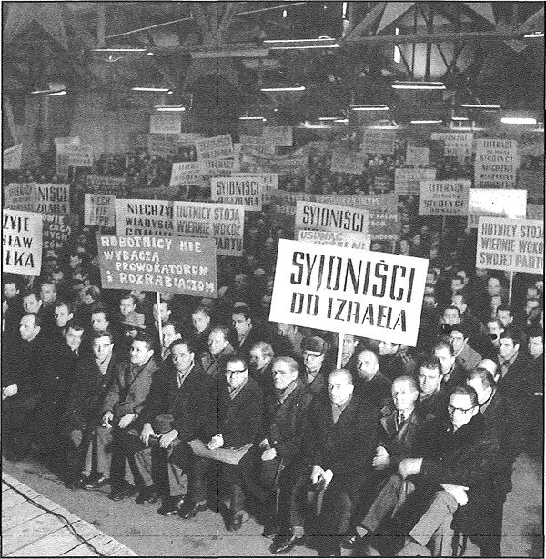 Kraków 1968. Masówka w Hucie im. Lenina. Wiec poparcia dla antysyjonistycznej polityki partii po zamieszkach marcowych